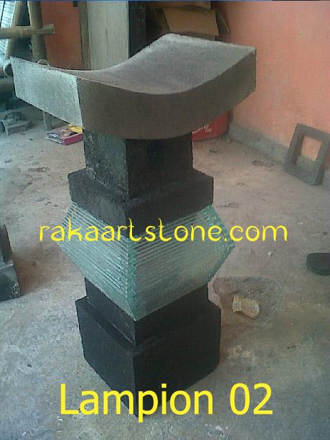 Lampion Batu Alam Kombinasi Kaca